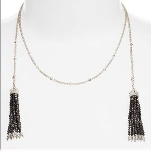 Kendra Scott Silver Monique Lariat Necklace Black